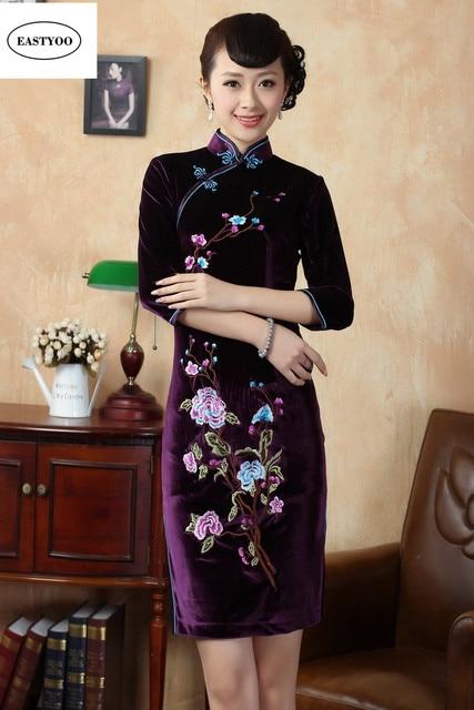 0f5790edd4b65 Embroidery Chinese Dress Women Vintage Velvet Dresses Standard Collar Short  Qipao Plus Size Oriental Dresses Slim Cheongsams