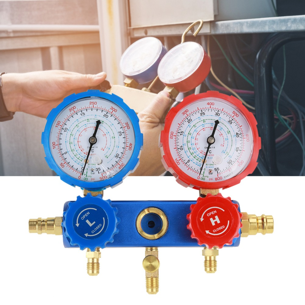 1Set Air Manifold Gauge R134a Air Conditioning Refrigerant Manifold Gauge Set with 1.5m Charging Hoses Measuring Tools Hot Sale цена