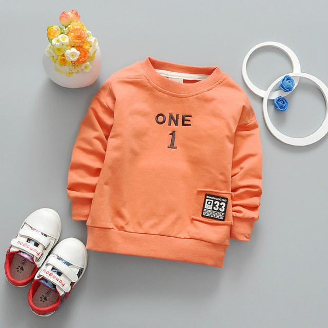 2017 Niños Suéteres Del Bebé Niñas niños Camisetas de Manga Larga Tops Clothings Niños niños Carta de Algodón Suéteres Camisetas CE365