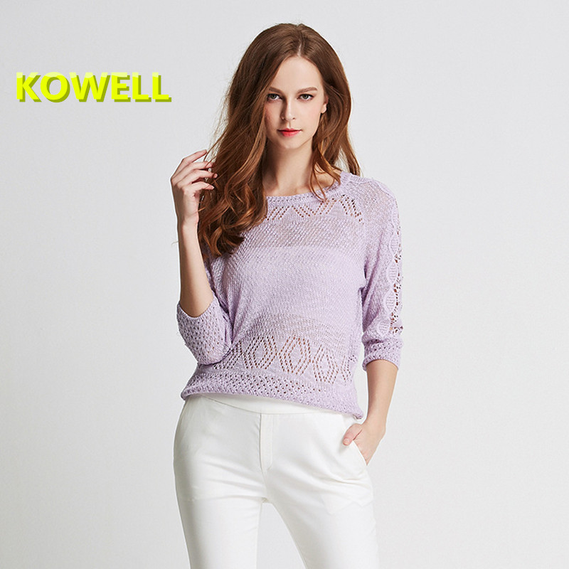 2018 Spring New Design Womens Sweaters Casual Fashion Lace Solid O-neck Pullover Hollow Out Knitted Soft Women Sweater Pullover