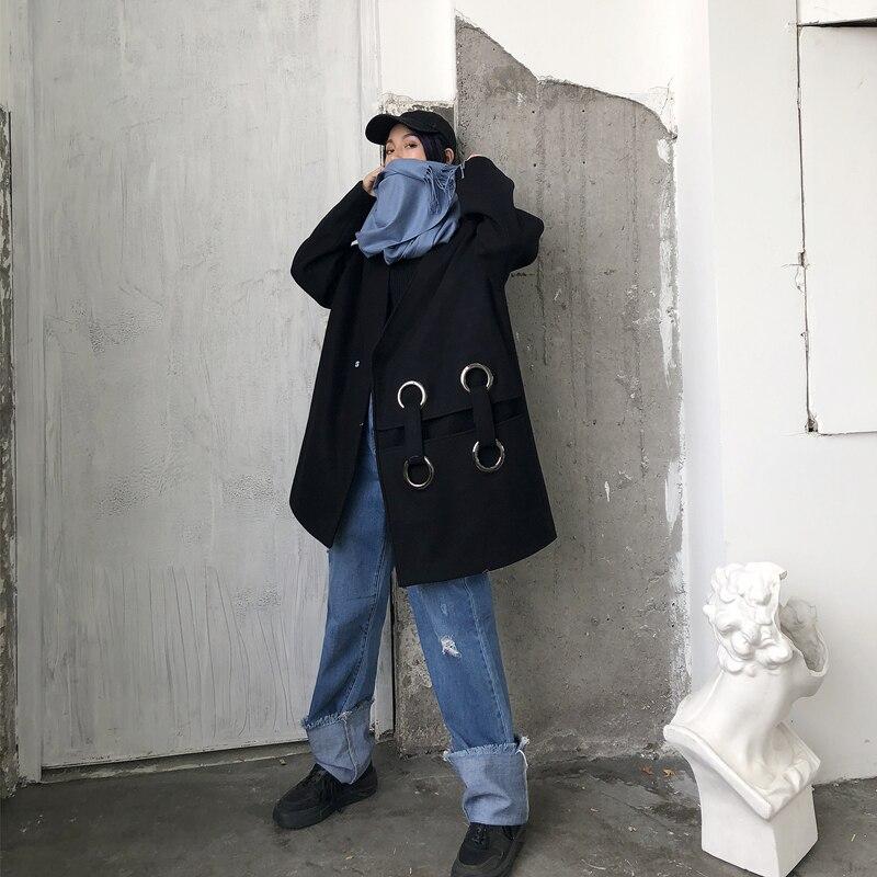 Pardessus Manteau Mode Creux Irrégulière Lâche Femmes Black Taille Noir V Laine Col Getsring Longue Hiver 2018 Casual Plus qazU5n