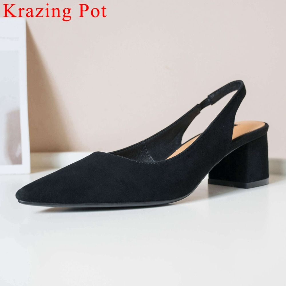 2019 elegant lady solid slingback slip on genuine leather chunky med heels high street fashion shopping