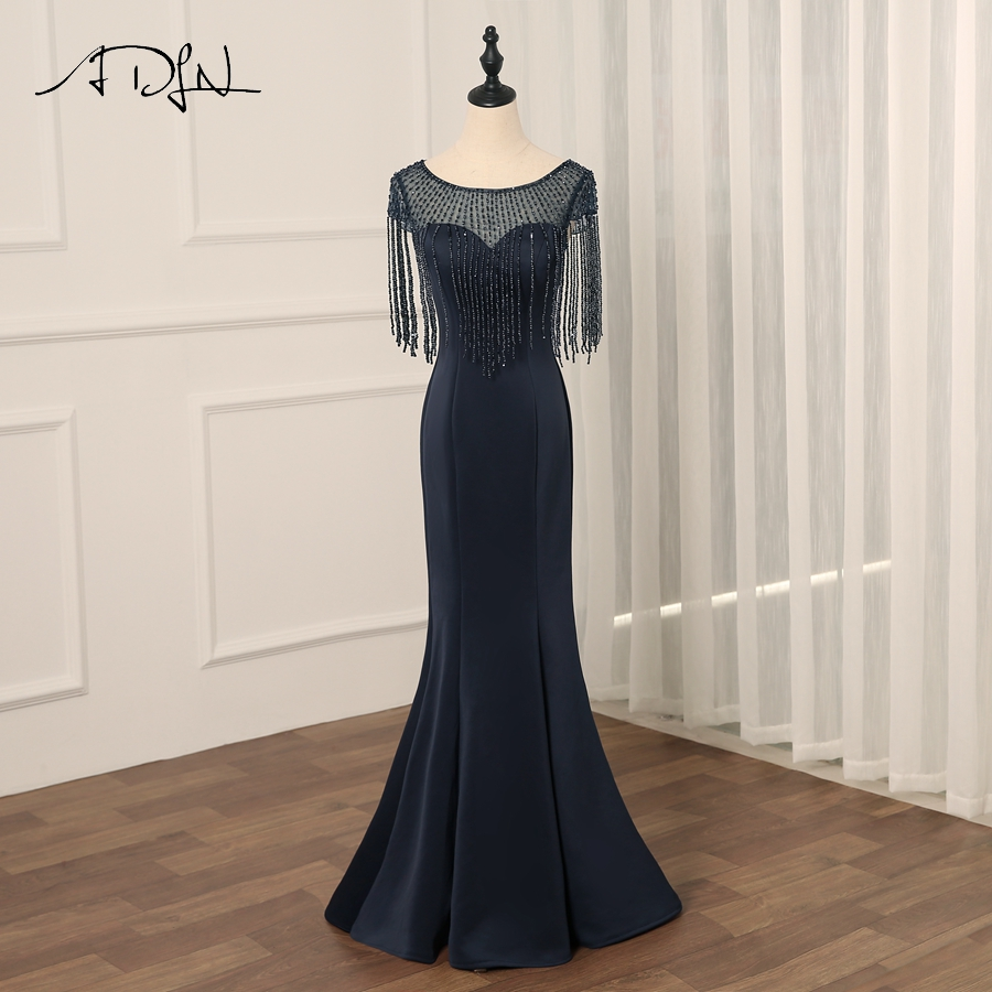 ADLN Sexy Evening Dress 2018 Scoop Neck Mermaid Long Evening Dresses Party Beading Tassel Prom Gowns