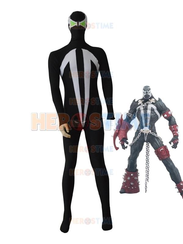 Lycra Spandex Hellspawn Costume Black Male Superhero Costumes Halloween Cosplay Fullbody Zentai Suit free shipping