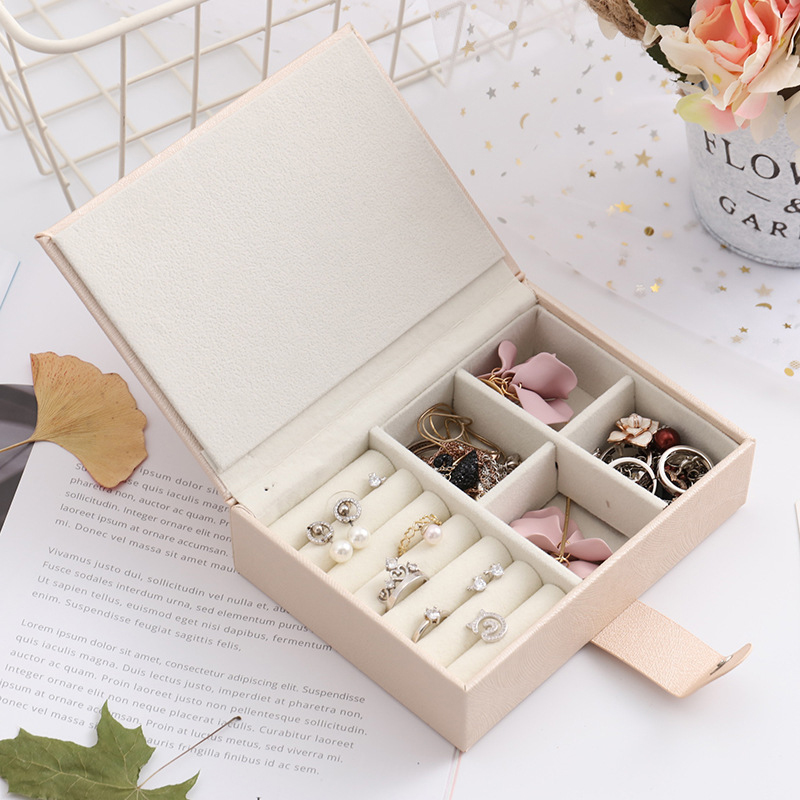 Fashion PU Makeup Organizers Portable Women Jewelry Display Book Earrings Rings Necklace Collection Box Travel Case Accessories
