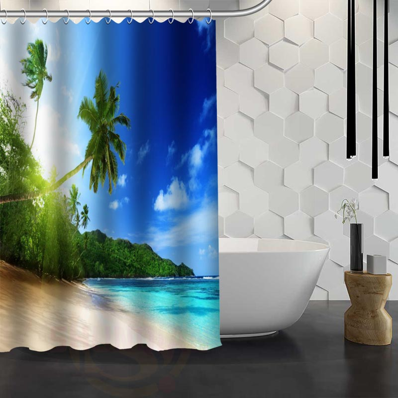 Hot Sale Custom beaches nature sea sun ocean clouds Shower Curtain Waterproof Fabric Shower Curtain for Bathroom F#Y1-17