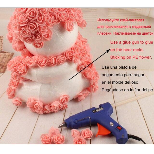 Foam Bear Mold PE Rose Artificial Flower Heads Rose Bear White Mold and Gift Box DIY Rose Bear Accessories Bag 2