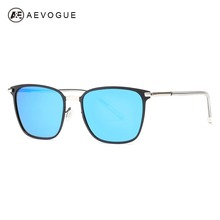 AEVOGUE Polarized Sunglasses For Men Square Oversize Vintage Metal Temple Brand Designer Fashion Shades Blue Driving AE0609