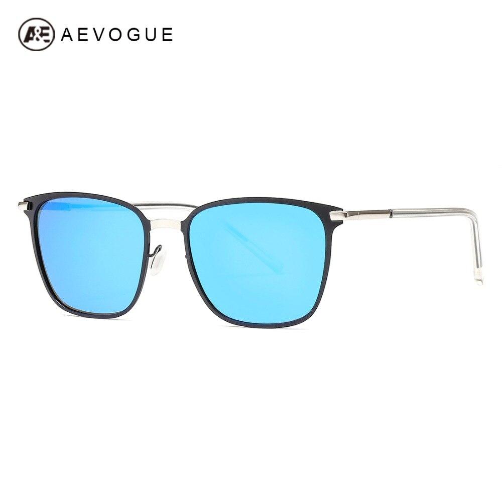 AEVOGUE gafas de sol polarizadas para hombres, Plaza de gran tamaño Vintage Metal templo marca diseñador de moda tonos azul conducción AE0609