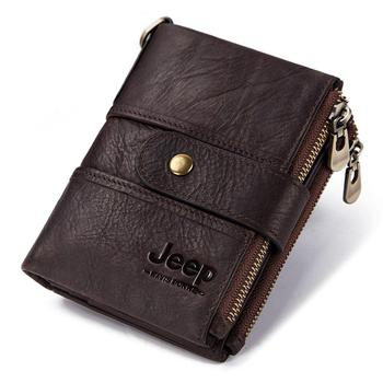 100% Genuine Leather Rfid Wallet Men Crazy Horse Wallets Coin Purse Short Male Money Bag Mini Walet High Quality Boys 16