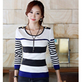 Spring Winter Korean Women Slim Striped Pullover Sweaters 2017 New Design Ladies Casual Long Sleeve Knitted Tops Cheap Wholesale