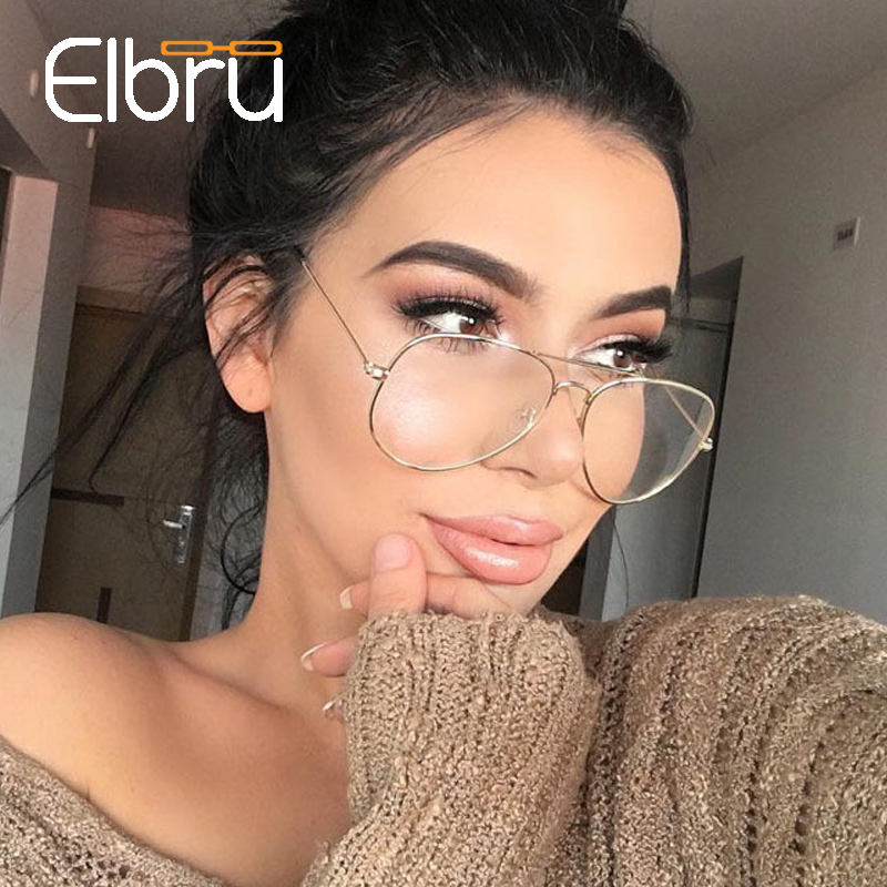 Elbru Anti Blue Ray Glasses Women Anti Blue Light Computer Glasses Cool Fashion Metal Clear Lens Eyeglasses Black Feamale