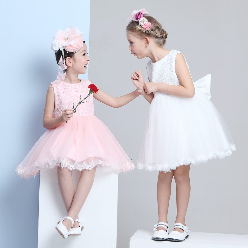 Real-Picture-Lovely-Ball-Gown-Scoop-Pink-White-Knee-Length-Appliques-Flower-Girl-Dress-2015