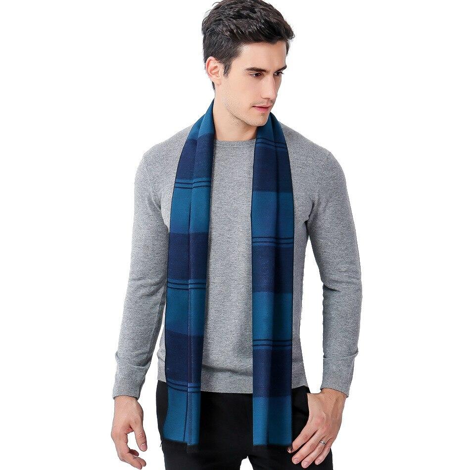 New winter leisure cashmere grid collar stripe business men scarf