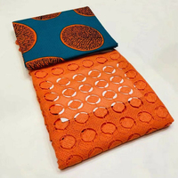 New Milk silky Lace Fabrics Milk Silk cord lace match African Ankara Fabric Wax Print Fabric 3yards+2.5yards lace