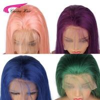 Карина полный кружева натуральные волосы парики с ребенком волос Розовый Синий Зеленый Фиолетовый бразильский Волосы remy Glueless парики шнурк