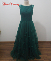 iLoveWedding New Arrival Graceful Tulle Evening Dresses Cheap A Line Formal Party Gowns Beaded Crystal Prom Dress Manmade flower