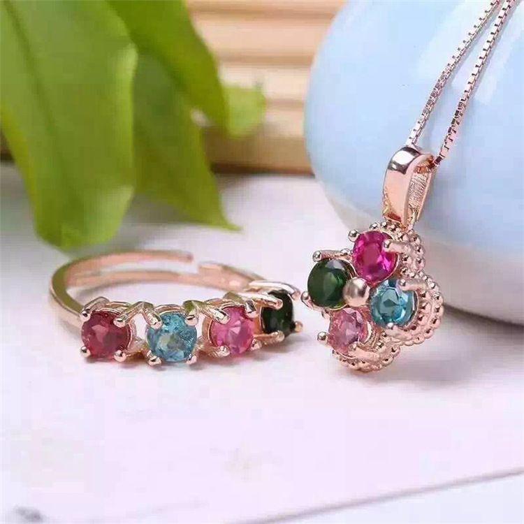 S925 Sterling Silver fairy inlaid tourmaline jewelry explosion set Gem Jewelry Ring + pendant set of natural stonesS925 Sterling Silver fairy inlaid tourmaline jewelry explosion set Gem Jewelry Ring + pendant set of natural stones