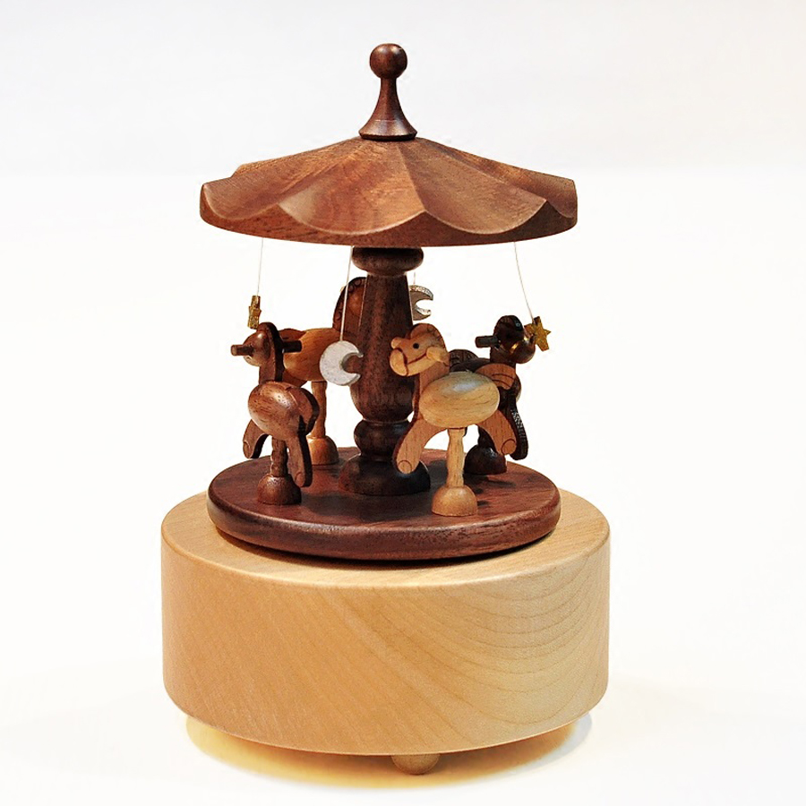 Creative Wooden Carousel Mini Music Box Solid Wood Merry-go-round - Տնային դեկոր - Լուսանկար 3