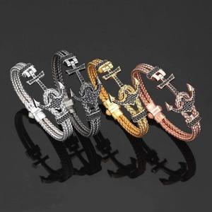 Image 5 - עוגן קאף צמידים & צמידי גברים Atolyestone צמיד זהב נירוסטה עוגן שחור עור קאף צמידי Pulsera BCB 0125