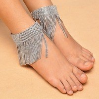 Fashion Multilayer Silver Gold Color Tassel Chain Anklet Bohemian Summer Beach Foot Full Crystal Ankle Bracelet