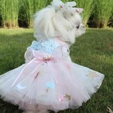 Платье для собак; роскошное свадебное платье для собак; кружевная Свадебная юбка-пачка с вышивкой; летнее платье; Chiwawa; платье для свадебной вечеринки; H8-2
