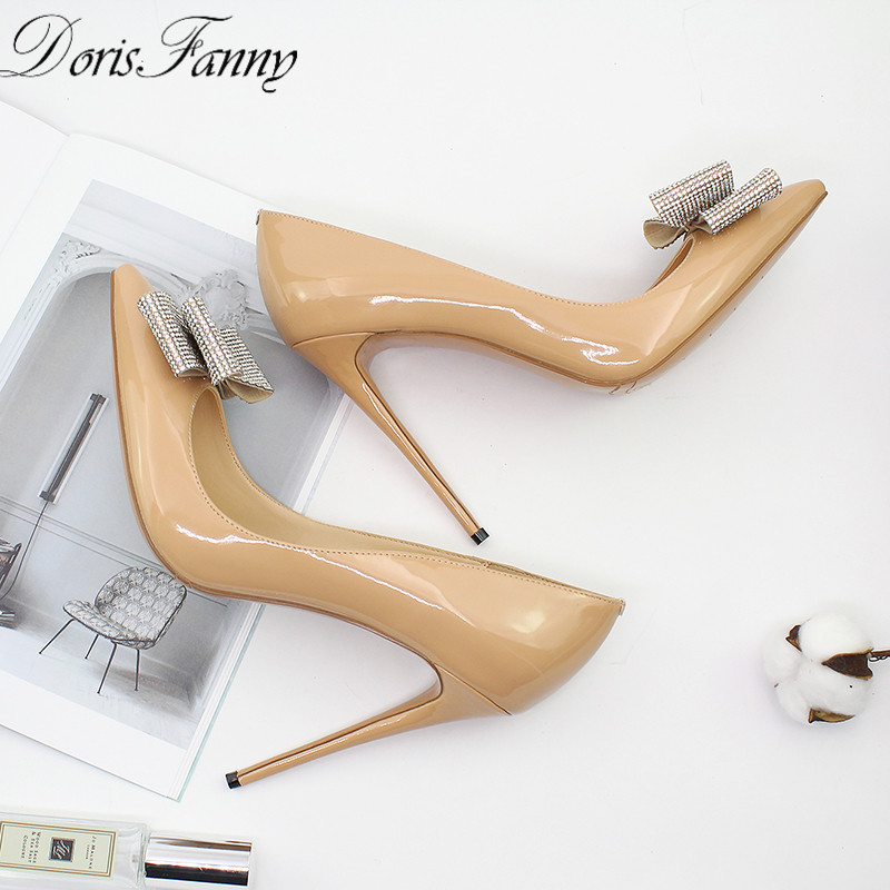DorisFanny 2018 New Arrival shoes woman nude black sexy high heels with crystals 12cm stiletto wedding shoes free shipping