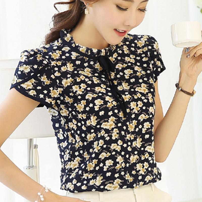 2017 Summer Floral Print Chiffon Camicetta Collare Increspato Fiocco Al Collo Camicia Petalo Manica Corta Chiffon Top Plus Size Blusas Femininas