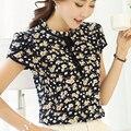 2017 Verão Floral Impressão Chiffon Blusa Gola de Babados Camisa Arco Pescoço Pétala de Manga Curta Chiffon Tops Plus Size Blusas Femininas