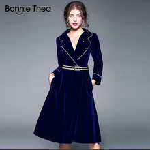 autumn and winter women Solid blue Velvet dress female slim Suit Office work OL party Ladies short clothes Vestidos