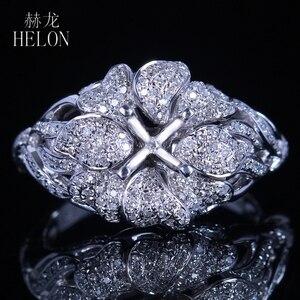 Image 3 - Helonリアル925スターリングシルバーラウンドカット5ミリメートルセミマウントパヴェ100%天然0.7ctダイヤモンド女性トレンディ花ファインジュエリーリング