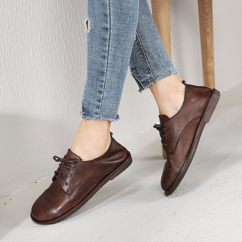 2019 VALLU ผู้หญิงรองเท้ารอบ Toe Lace Up หนังเลดี้ Handmade Retro หญิงแบนรองเท้า Loafers-ใน รองเท้าส้นเตี้ยสตรี จาก รองเท้า บน   1