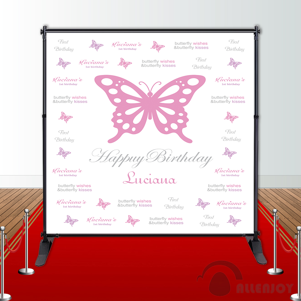 Allenjoy vinyl backdrops for photography pink butterfly cute birthday background props newborn fabric space 10ft*20ft blue stripe plunging neck ruffled sleeveless playsuit with self tie front