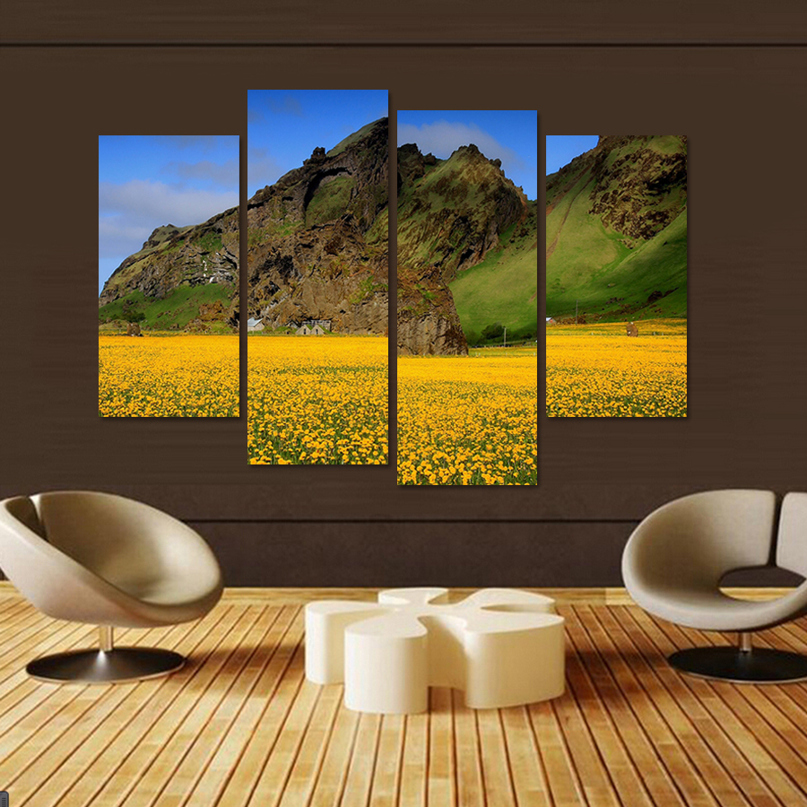 5 Panels HD Unframe Early Morning Lavender Giclee Canvas Prints ...
