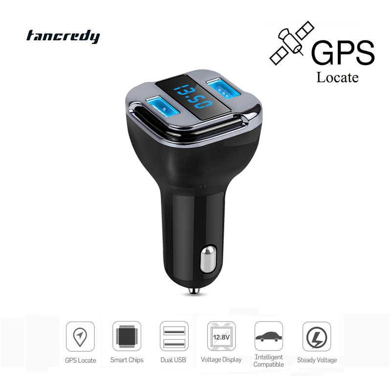 Tancredy موقع تتبع السيارات gps المقتفي gps جهاز 4.2a المزدوجة usb شاحن سيارة الجهد الحالي الصمام عرض ل ios الروبوت الهاتف