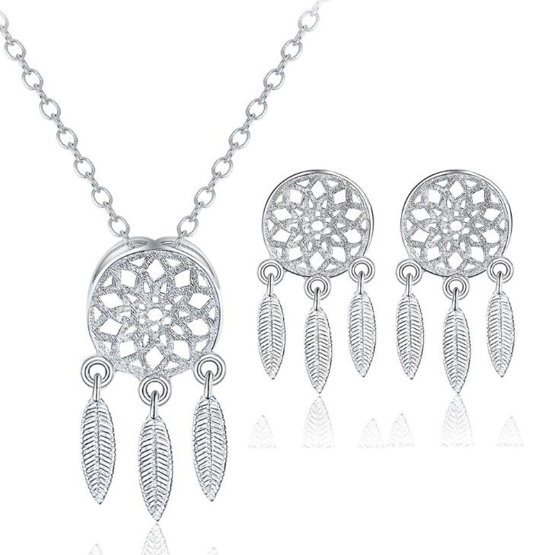 XIYANIKE 925 Sterling Silver 2019 2pcs/Set Korean Style Feather Dreamcatcher Jewelry Sets Pendant Necklace For Women Gift NE+EA