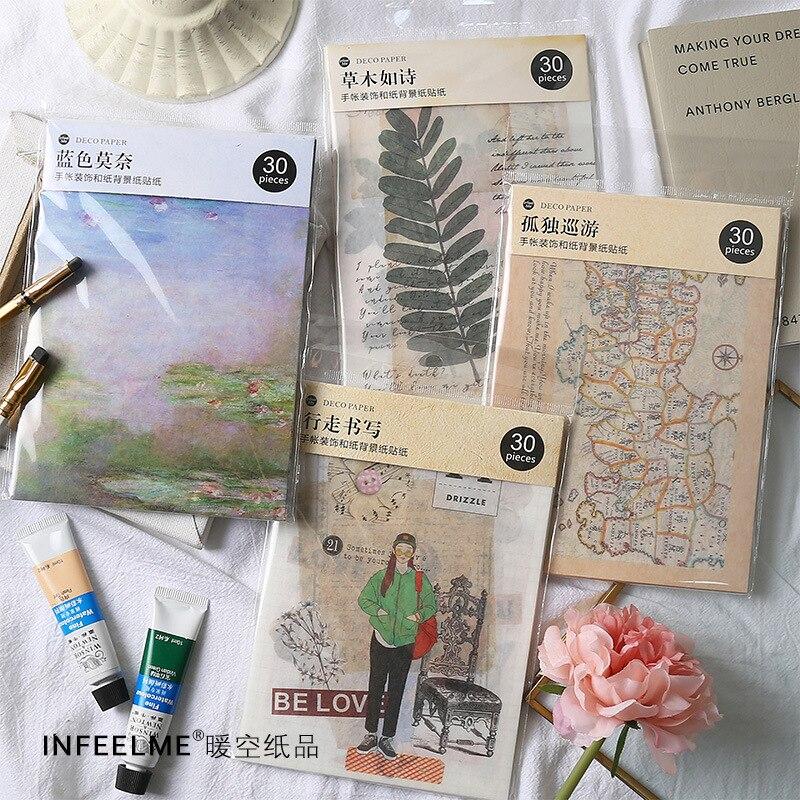 30 Sheets/Set Claude Monet Series Background Decoration Sticker DIY Diary Scrapbooking Planner Label Stickers