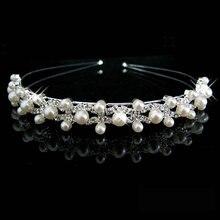 Hot Selling Fashion pearl crystal wedding princess headband Women Girls rhinestone pageant tiaras and crowns for bride hair