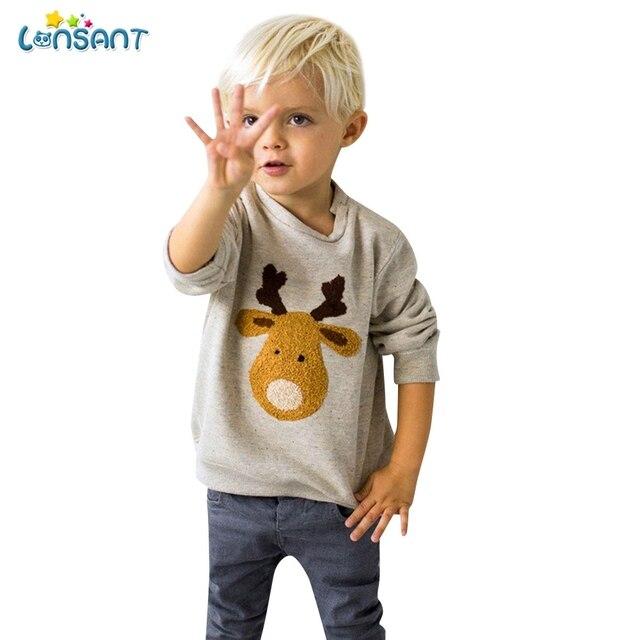 LONSANT Moda Bebê Menino Sweatershirts Crianças Topos De Algodão Inverno Outwear Dos Desenhos Animados Do Bebê Bonito Do Natal Alces Moletom