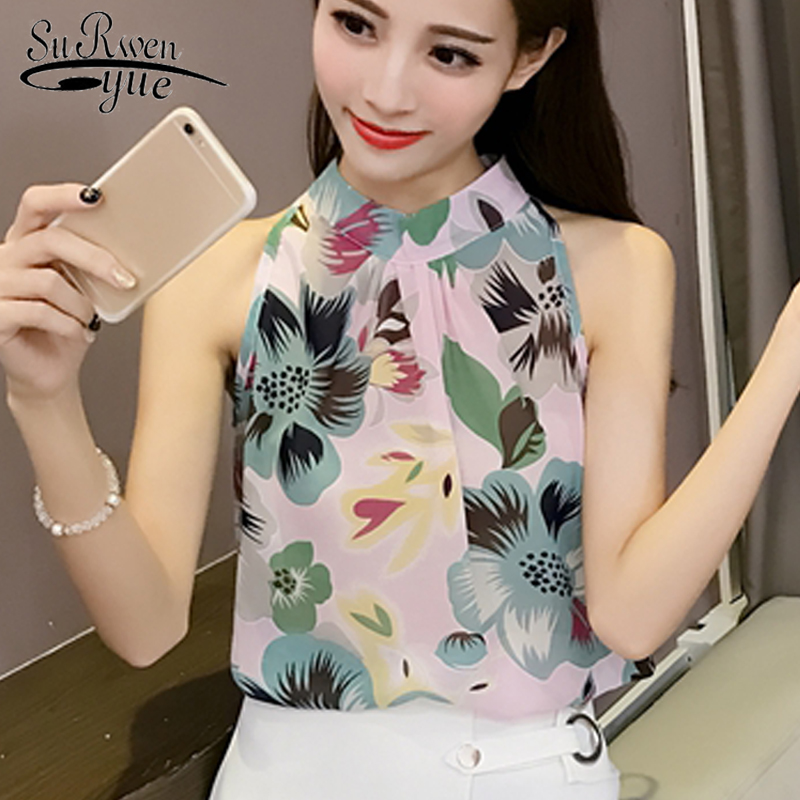 2019 fashion sexy sleeveless chiffon women   blouse     shirt   stand neck slim print women's clothing sweet women tops blusas D557 30