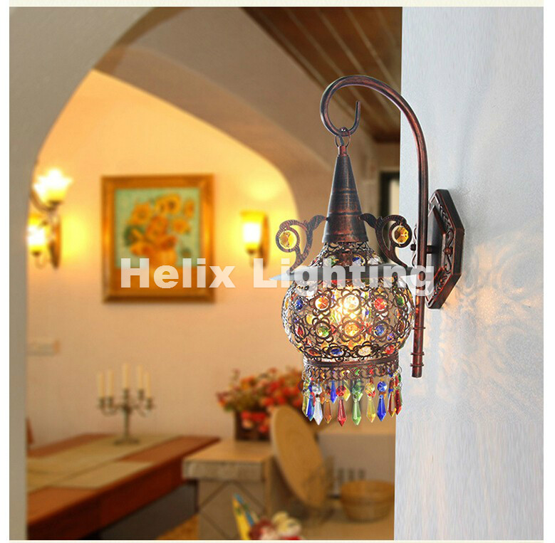 Tiffany Decor Nordic Vintage Iron Crystal Led Wall Lamp Bohemian Bedroom Wall Lamp Tiffany Wall Lamp D220mm H470mm AC 90~260vTiffany Decor Nordic Vintage Iron Crystal Led Wall Lamp Bohemian Bedroom Wall Lamp Tiffany Wall Lamp D220mm H470mm AC 90~260v