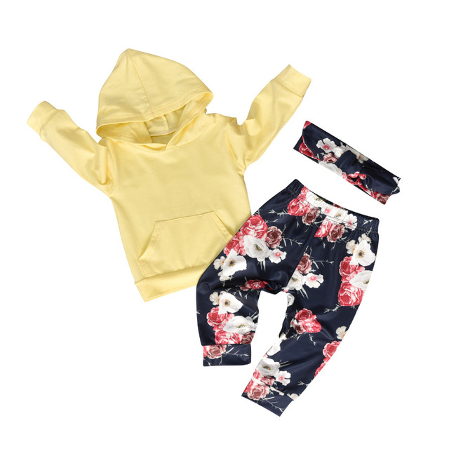 Newborn Baby Girl Clothes Set Long Sleeve Hoodie Sweatshirt Floral Pants with Headband Infant 3Pcs Suit Toddler Clothing Outfits