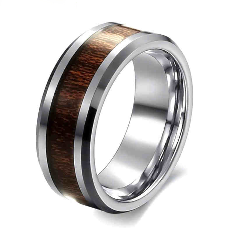 New Trendy Wood Rings For Couple Simple And Elegant 8 mm Stainless