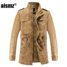 Aismz Faux Leather Jackets Men Warm Fleece Winter Men s Coats Stand Collar Sashes Casual Slim