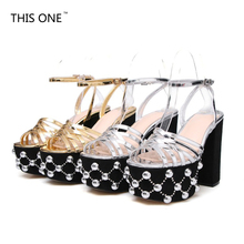 women sandals crystal 12cm party wedding Rome Gladiator Punk Rock  summer platform pumps ladies woman shoes zapatos mujer недорого