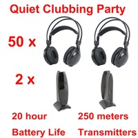 Best quality Silent disco headphone for party outdoor wedding Quiet Clubbing Party Bundle (50 Headphones + 2 Transmitters)