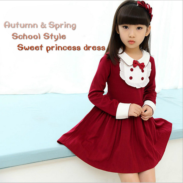 Children Costumes For Girls Sweet Princess Dress Baby Girl School Dresses For Birthday Party Long Sleeved Bow Girl Kids Clothes