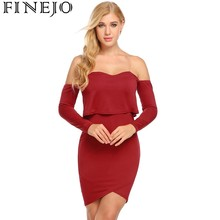 FINEJO Pencil Dress Women Sexy Strappy Cold Shoulder Party Long Sleeve Ruffles Solid Mini Bodycon Dresses Club Feminino Vestidos
