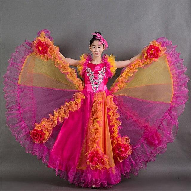 2f5369ef377b60 € 37.32 |2017 360 Espagnol Corrida Du Ventre De Danse Robe Jupe Longue robe  Flamenco fille Jupes Rouge Flamenco Robes Pour Femmes Filles L217 dans ...
