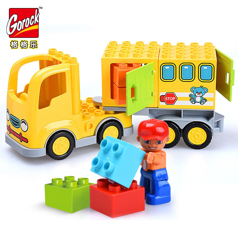 GOROCK 23pcs Big Size Building Blocks City Car Large DIY Bricks Educational Toys for Children compatible With Duploe Baby Gifts
